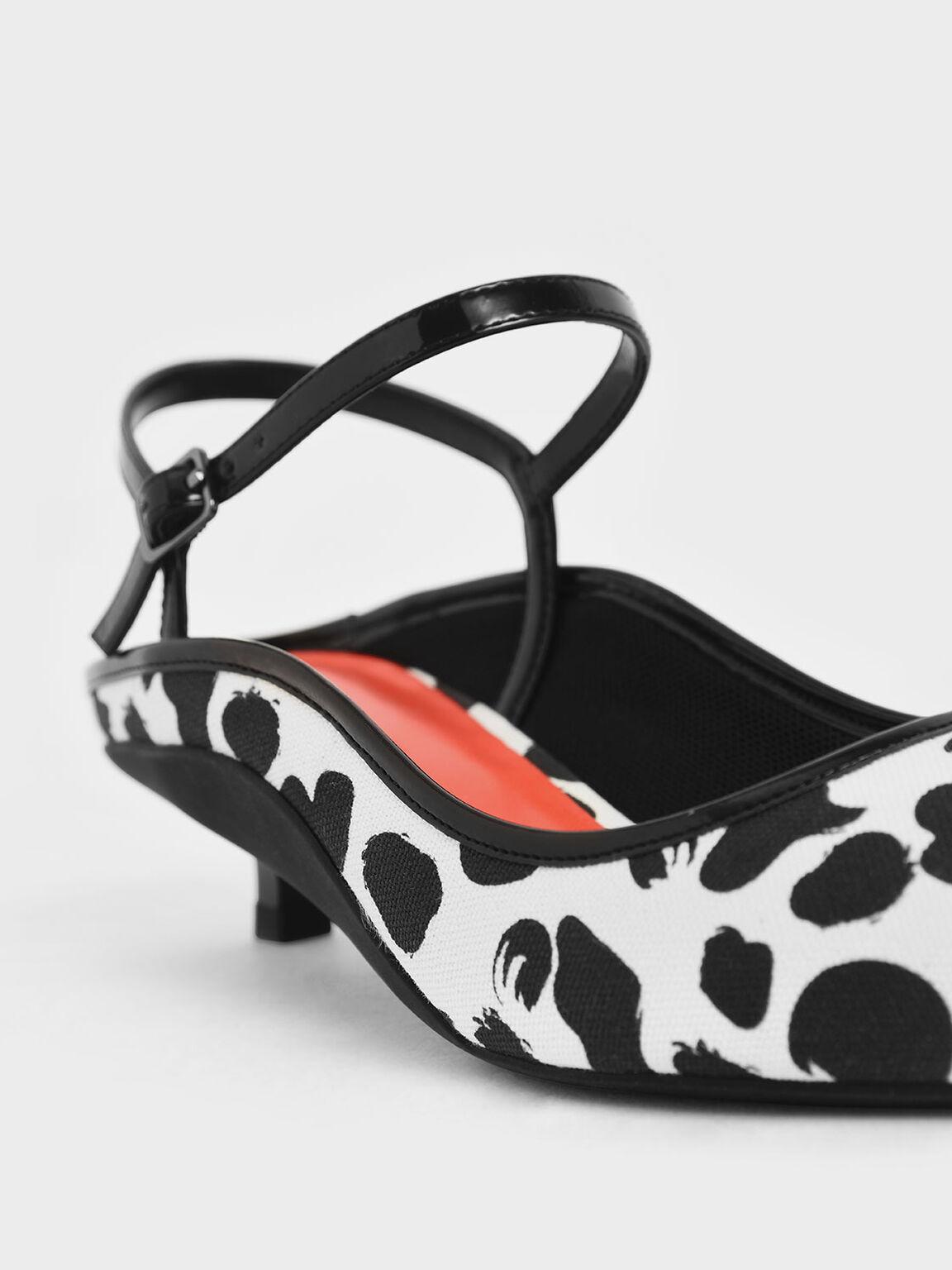 Cow Print Ankle Strap Kitten Heel Mules, Multi, hi-res