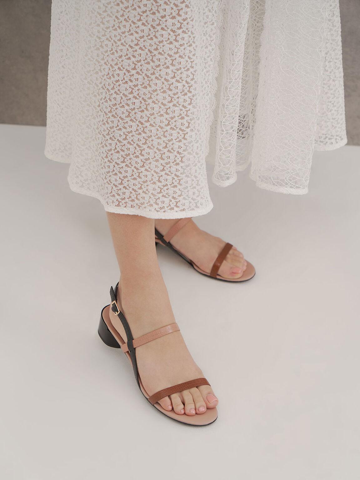 Croc-Effect Strappy Heeled Sandals, Multi, hi-res