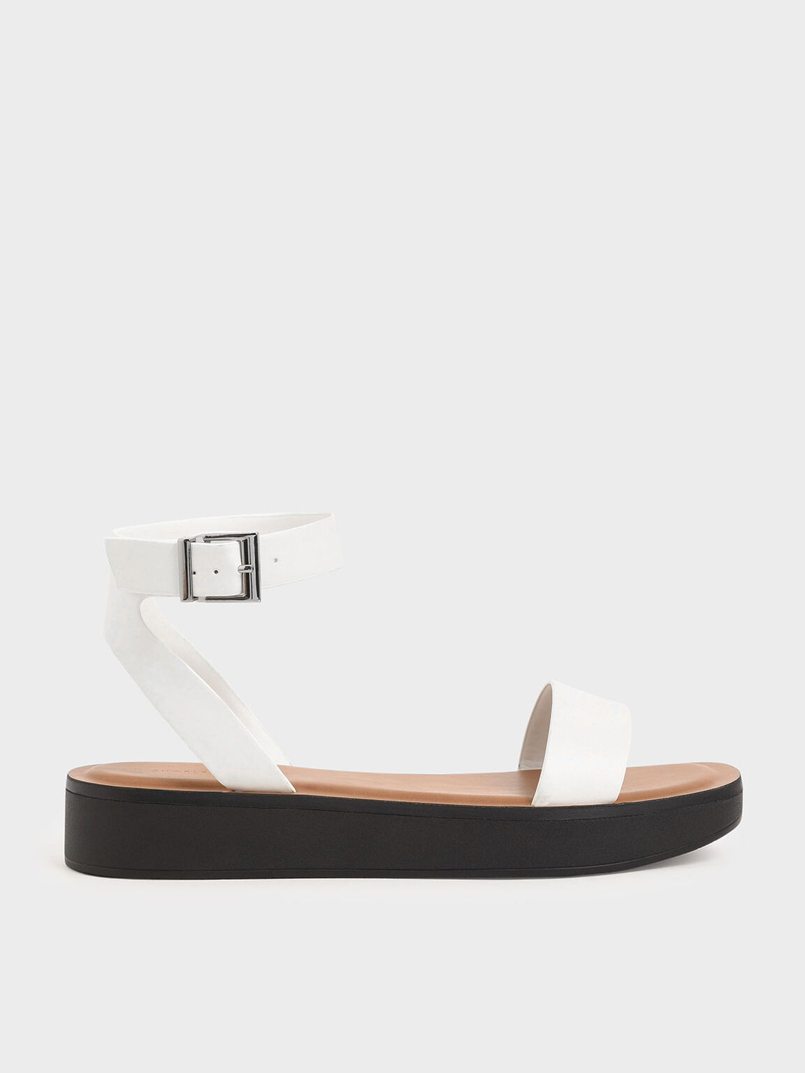 Ankle Strap Platform Sandals, White, hi-res