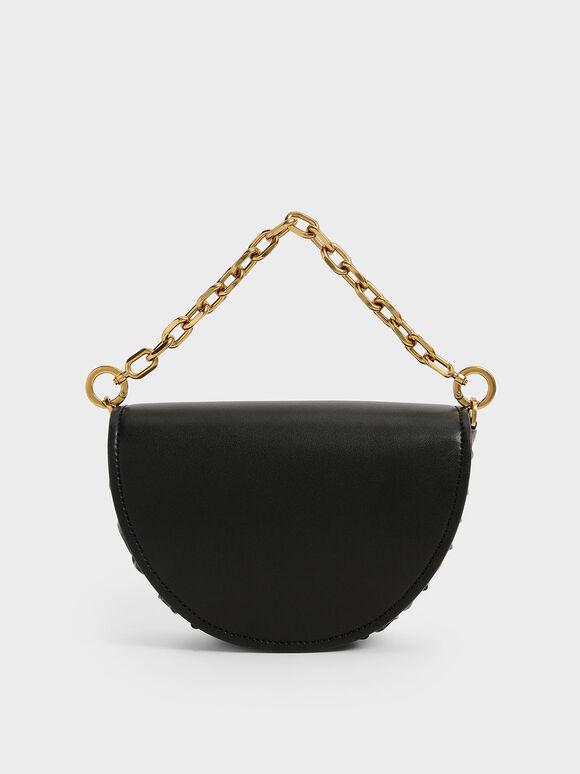 Chain Handle Half Moon Bag, Black, hi-res