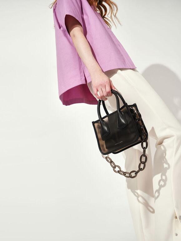 See-Through Effect Handbag, Black, hi-res