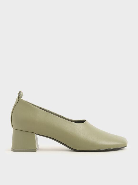 Block Heel Round Toe Court Shoes, Sage Green, hi-res