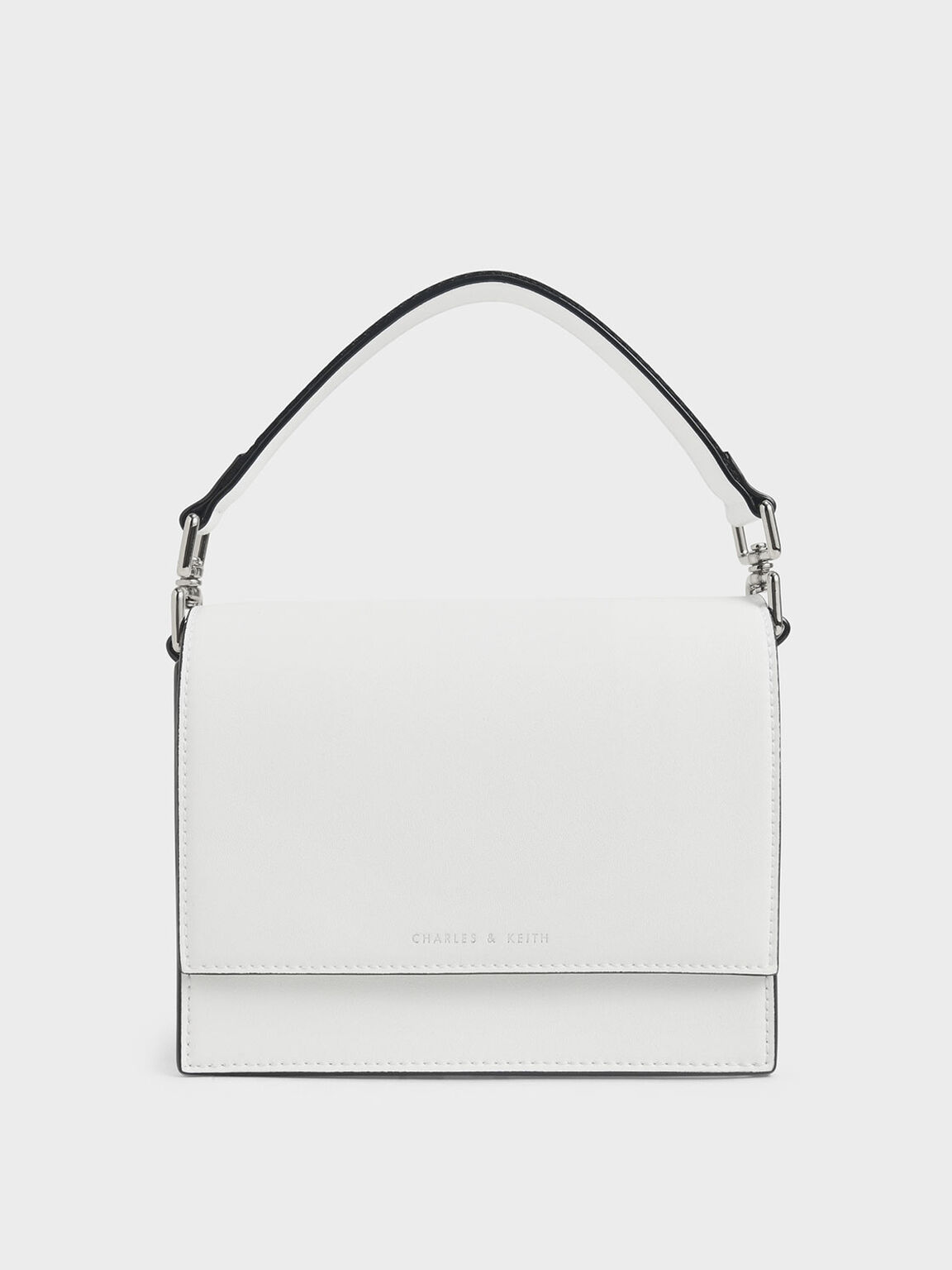 Striped Top Handle Crossbody Bag, White, hi-res