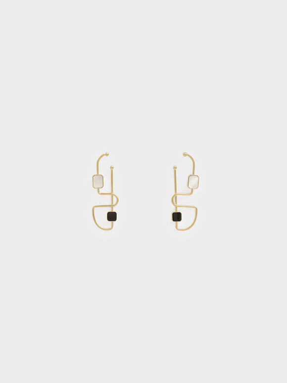 Mother Of Pearl Sculptural Earrings, Gold, hi-res