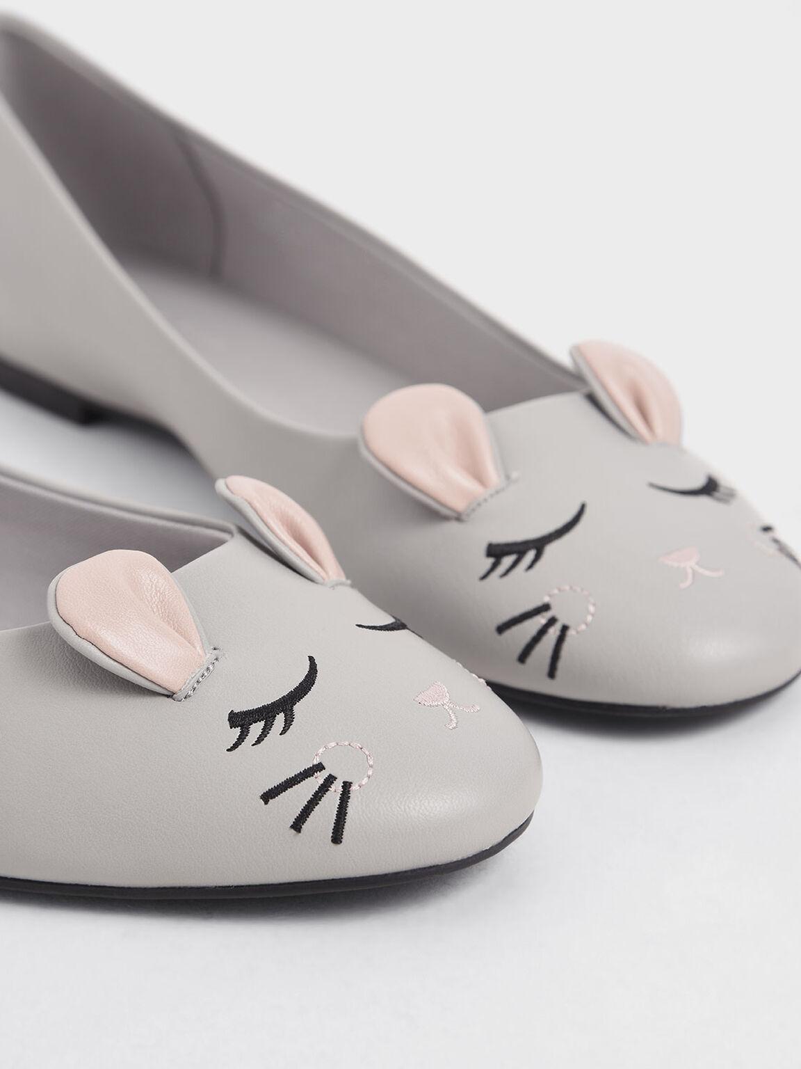 'Rat Zodiac' Ballerina Flats, Grey, hi-res
