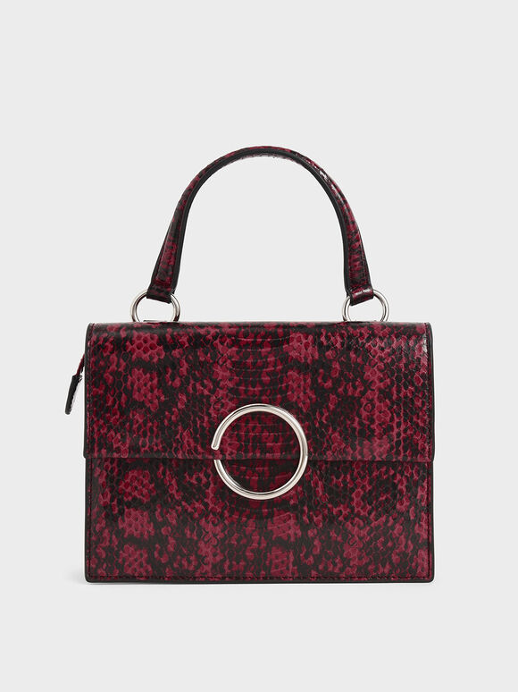 Snake Print Ring Detail Top Handle Bag, Berry, hi-res