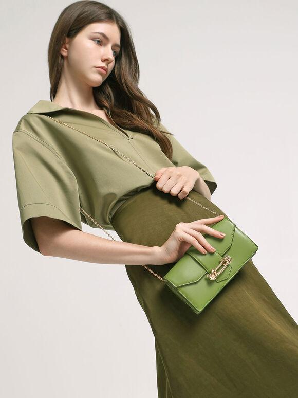 Metallic Buckle Mini Long Wallet, Green, hi-res