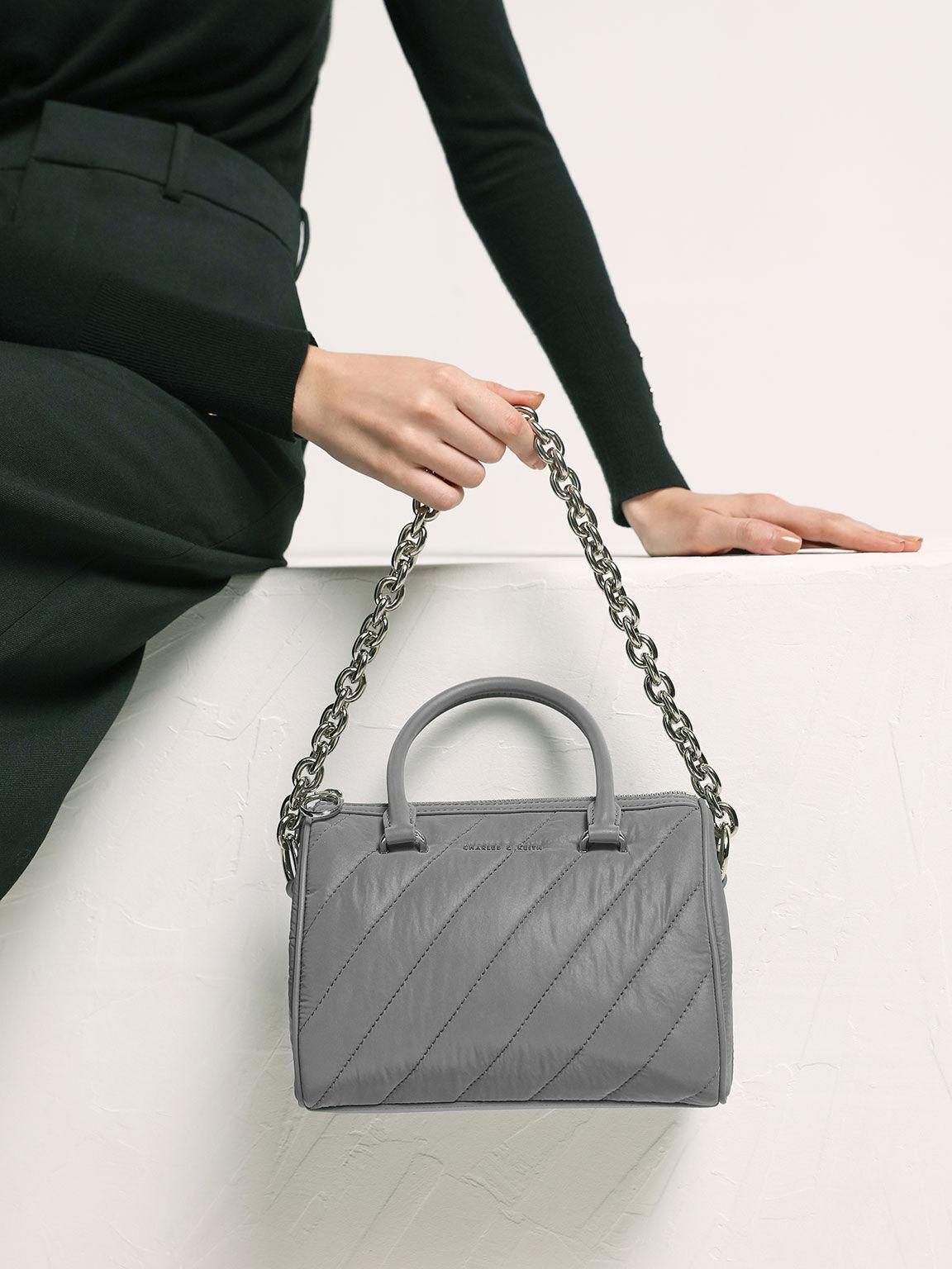 Nylon Panelled Tote Bag, Grey, hi-res