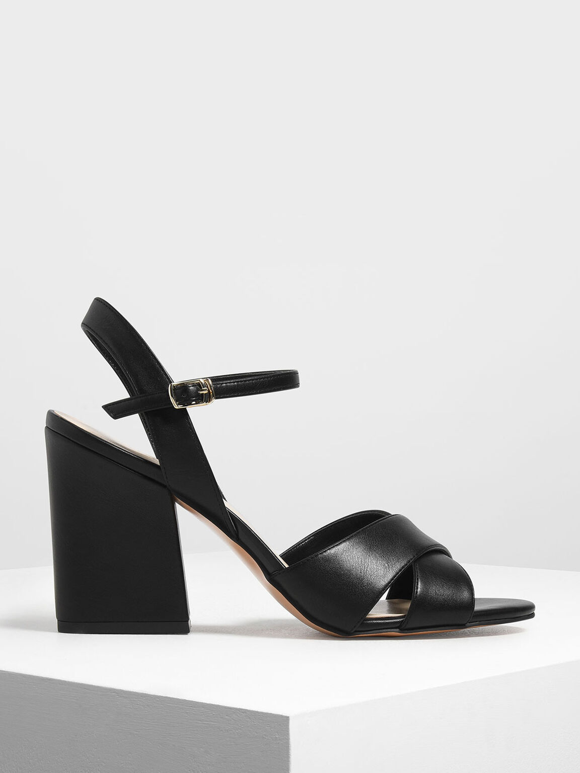 Criss Cross Block Heel Sandals, Black, hi-res