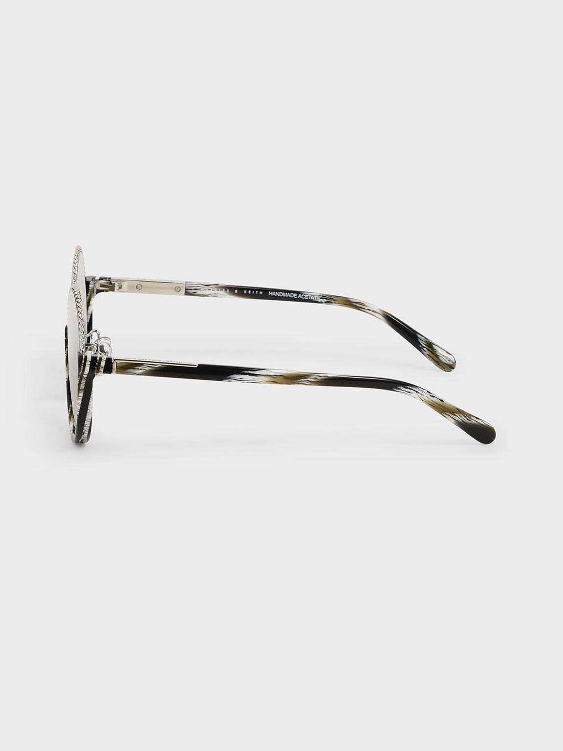 Printed Half Frame Embellished Round Sunglasses, Multi, hi-res