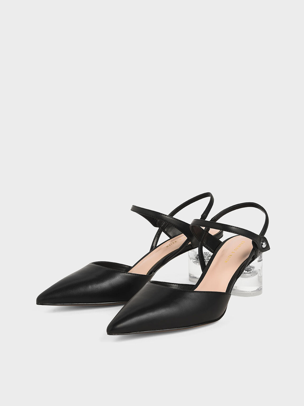 Pointed Toe Lucite Heel Cylindrical Pumps, Black, hi-res