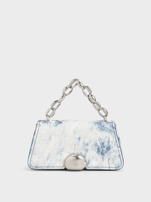 Metallic Chain Top Handle Bag, Multi, hi-res