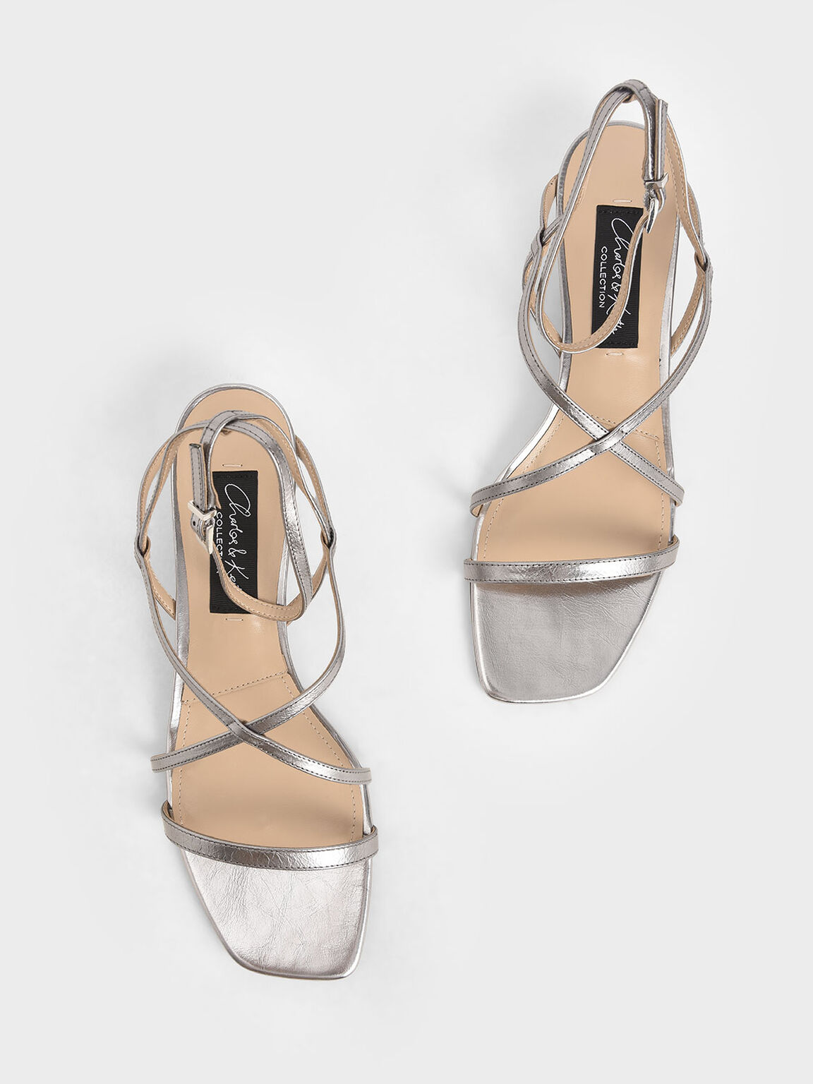 Leather Strappy Sandals, Pewter, hi-res