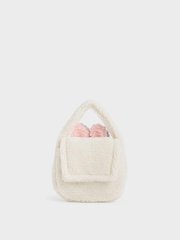 Girls' Furry Top Handle Bag, Chalk, hi-res