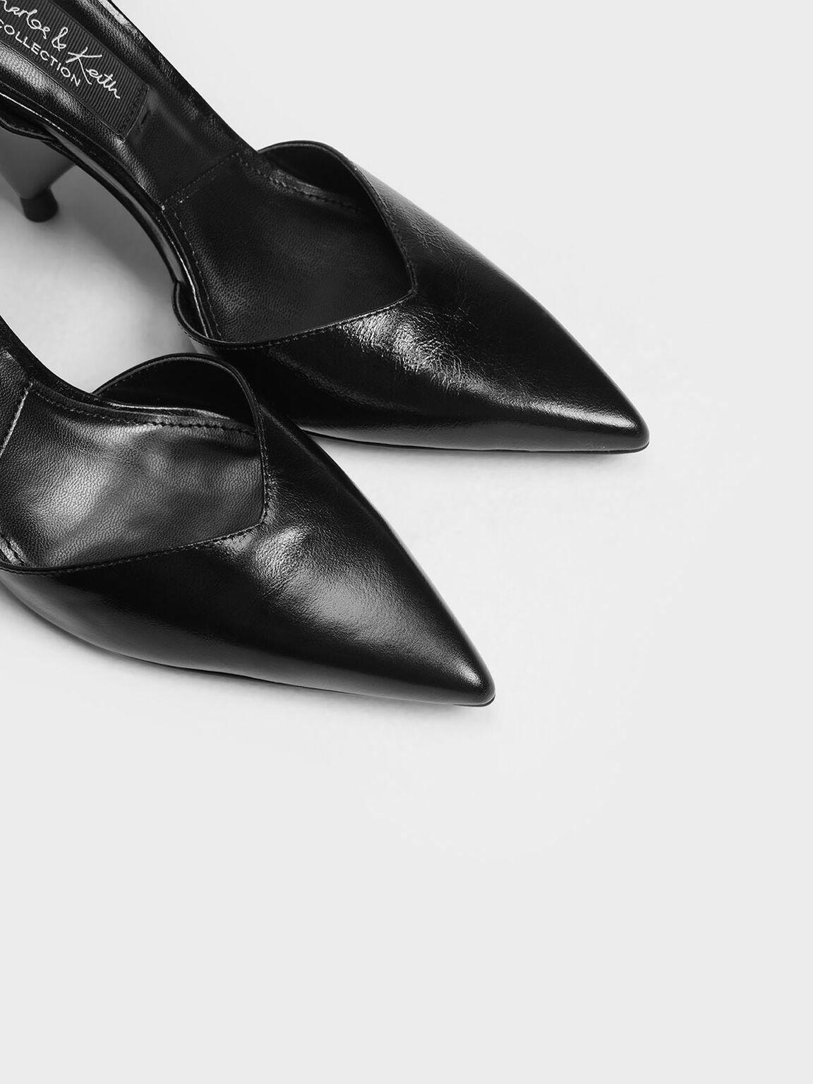 Leather V-Cut Ankle Strap Cone Heels, Black, hi-res
