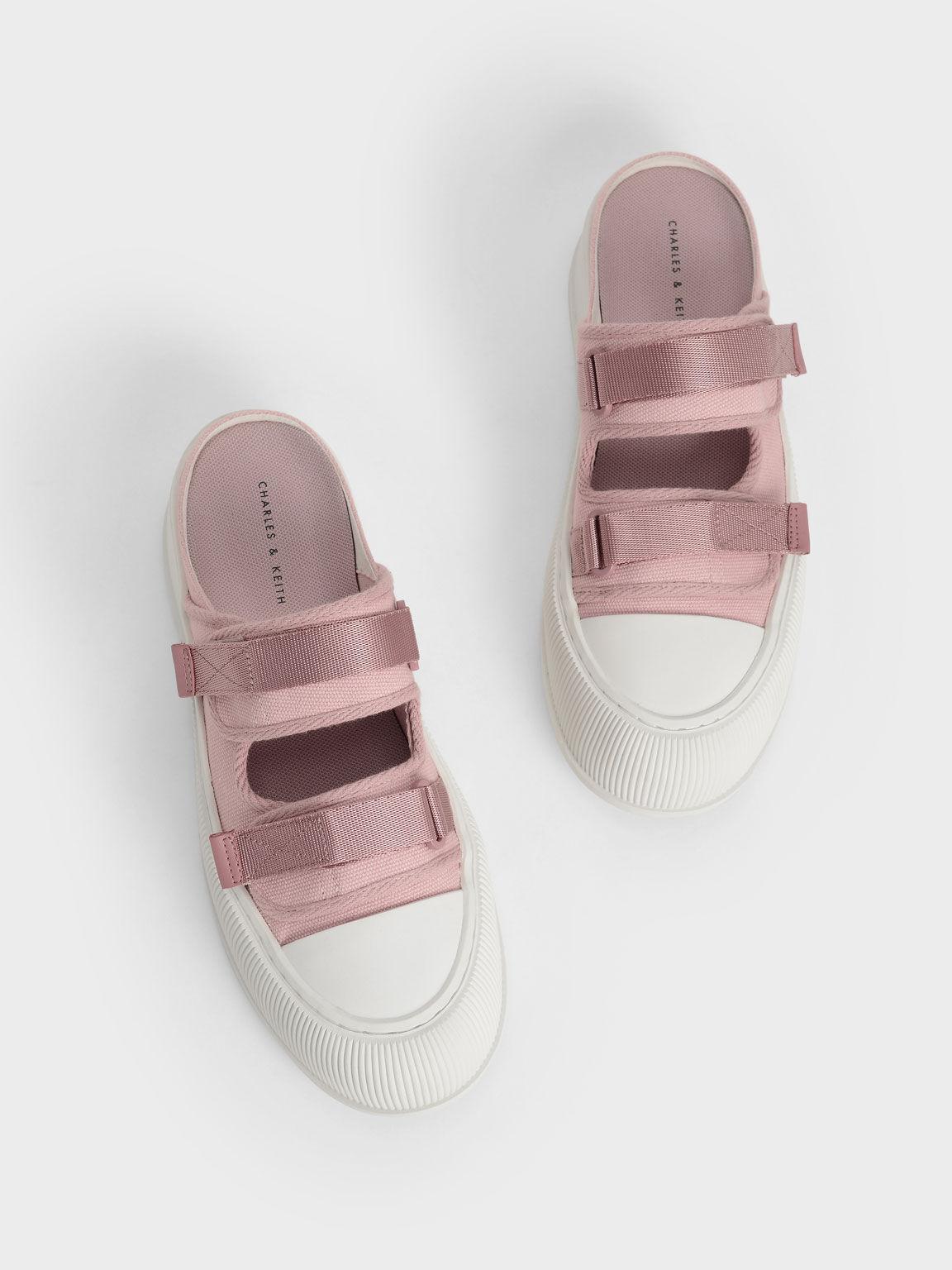 Canvas Velcro Sneaker Mules, Pink, hi-res