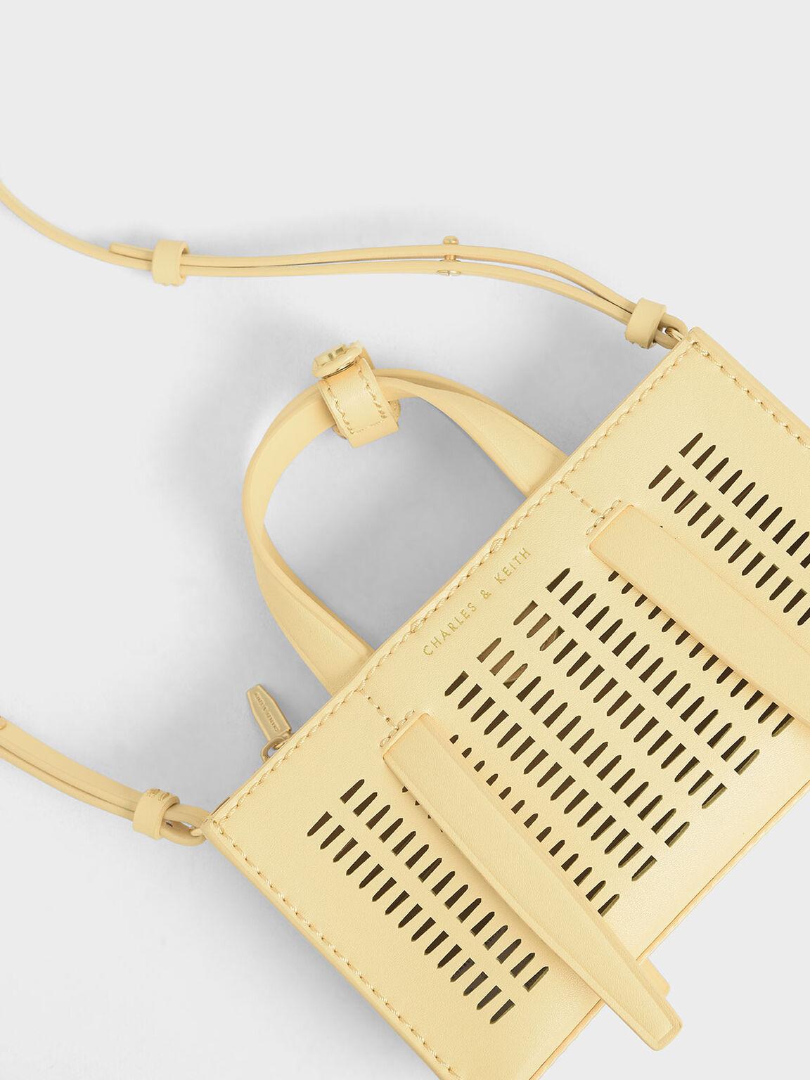 Laser-Cut Double Top Handle Bag, Yellow, hi-res