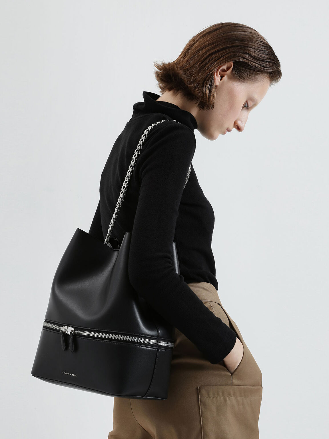 Two-Way Zip Hobo Bag, Black, hi-res