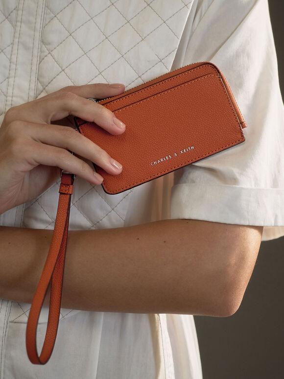 Top Zip Card Holder, Orange, hi-res