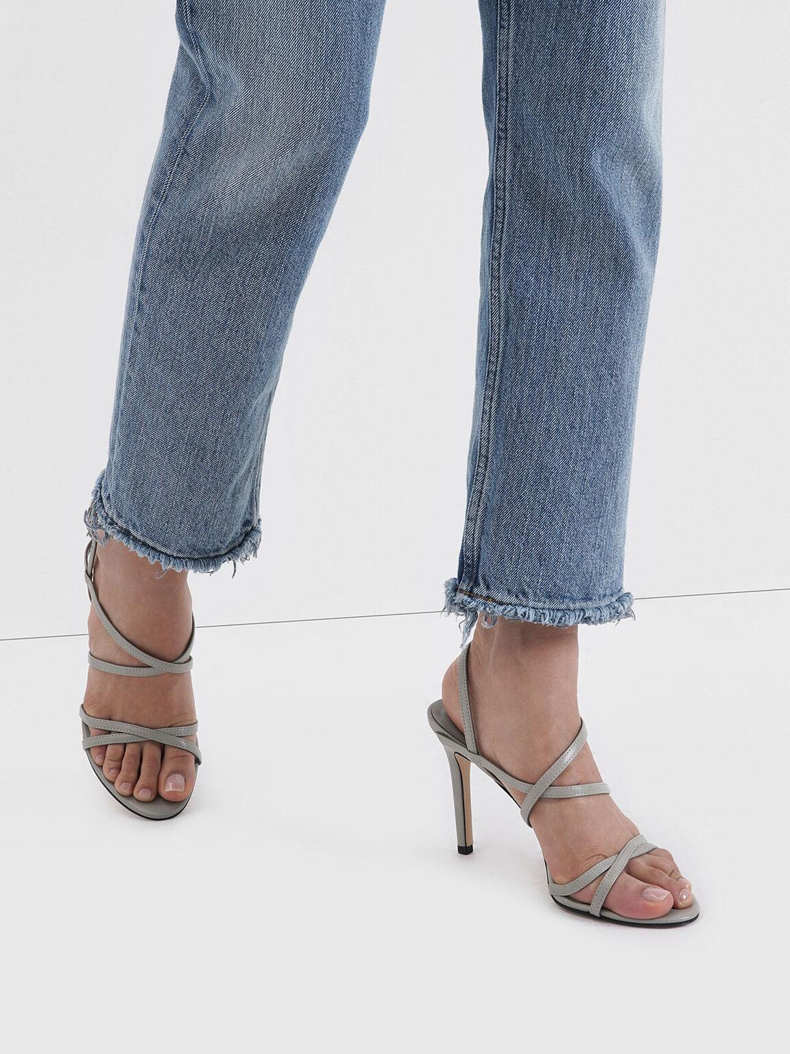 Criss Cross Strappy Stiletto Heels, Light Grey, hi-res