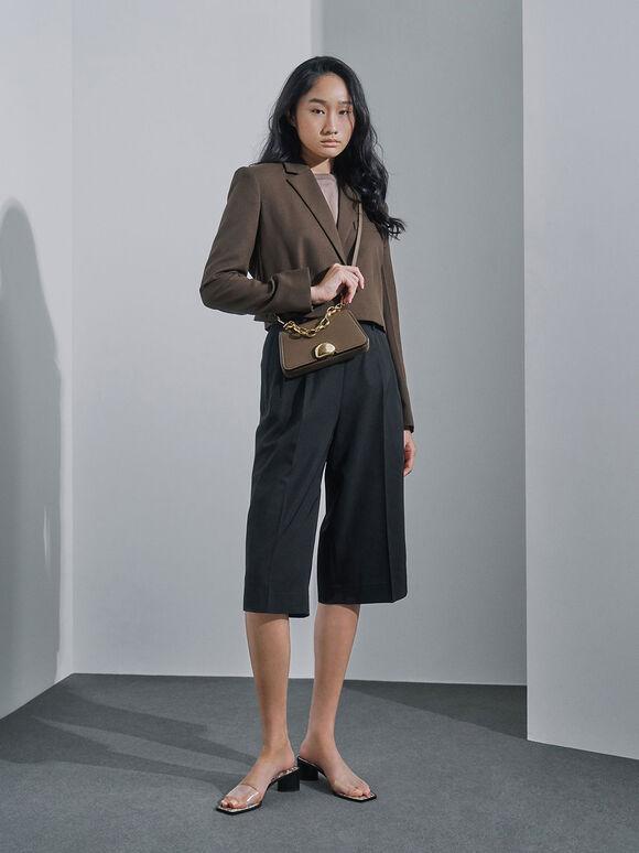Metallic Chain Top Handle Bag, Khaki, hi-res