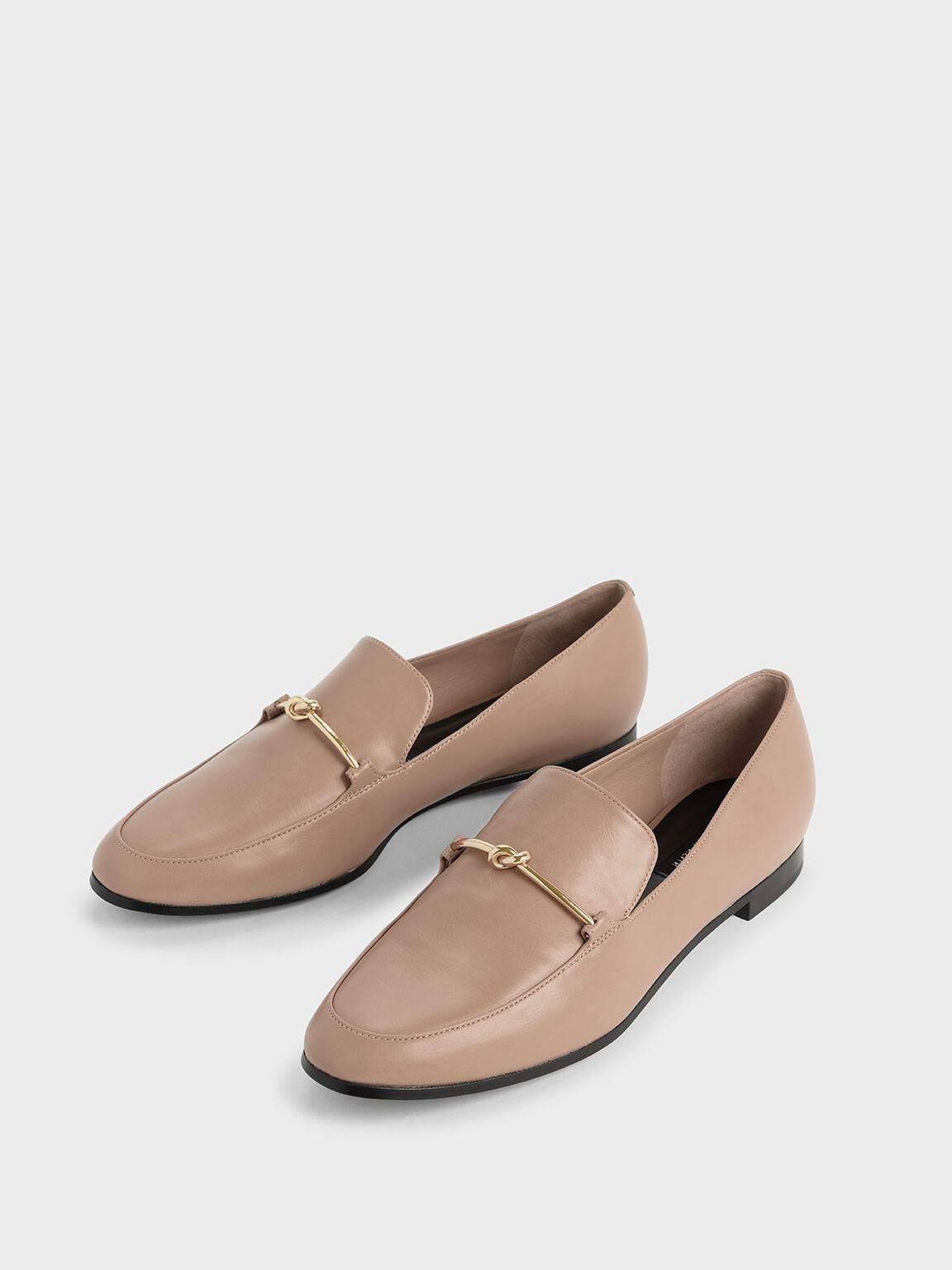 Metallic Knot Accent Loafers, Nude, hi-res