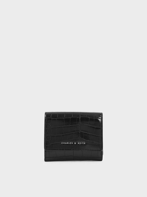 Croc-Effect Short Wallet, Black, hi-res
