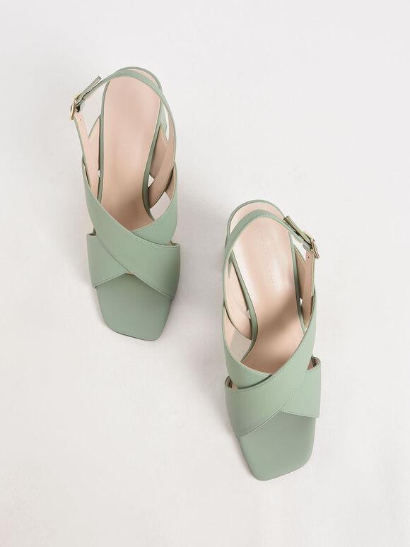 Criss-Cross Slingback Heeled Sandals, Green, hi-res