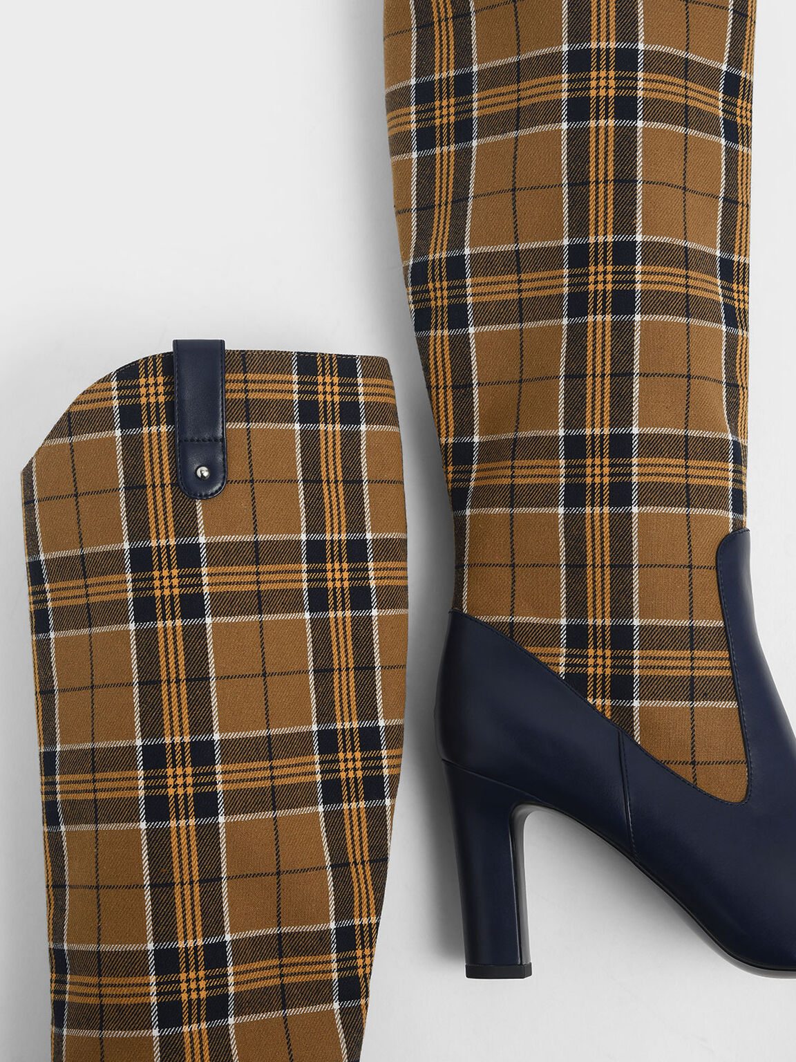 Check Print Chunky Heel Knee High Boots, Mustard, hi-res