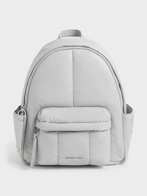 Large Puffy Backpack, Light Grey, hi-res