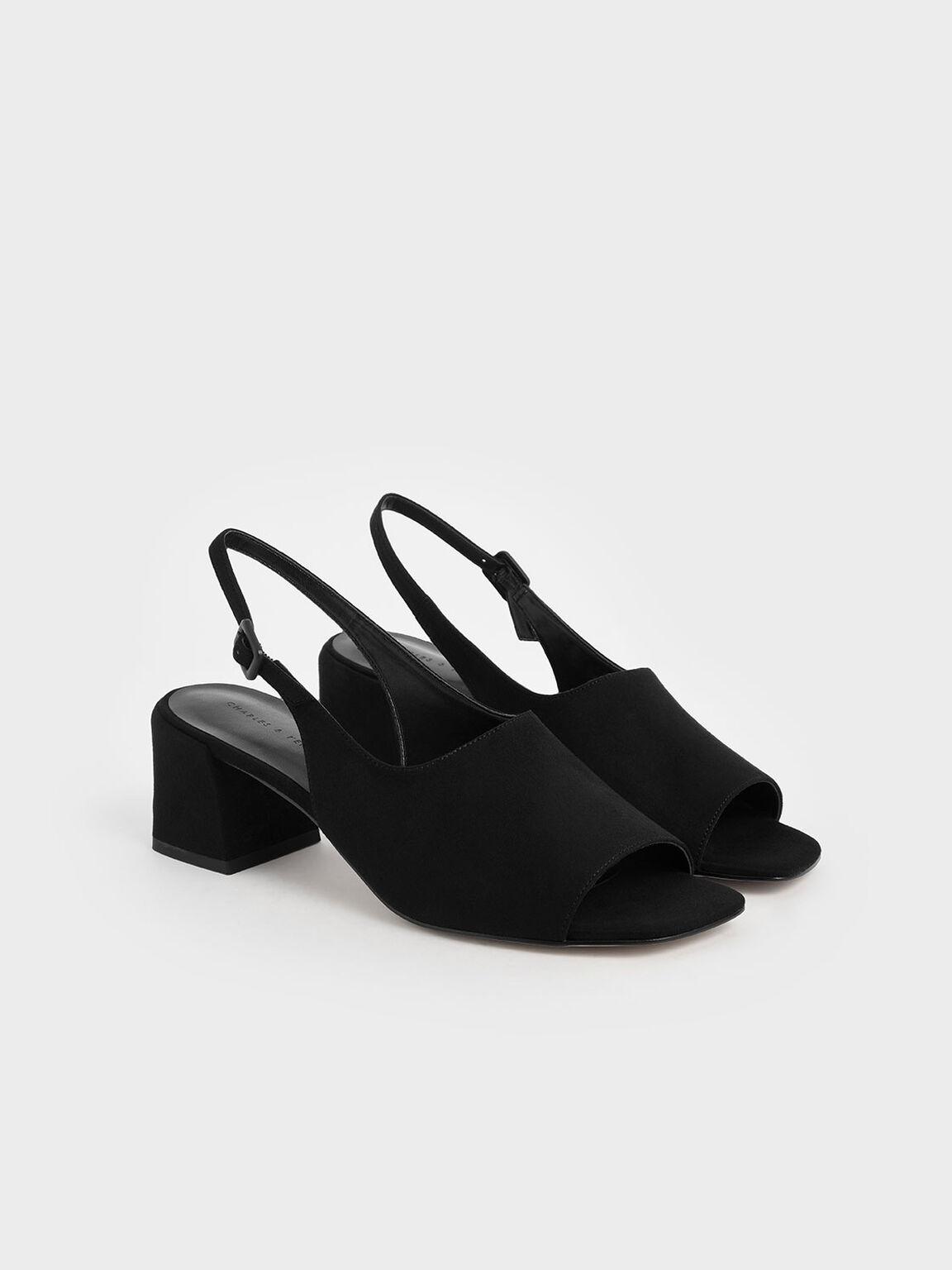 Textured Slingback Block Heels, Black, hi-res
