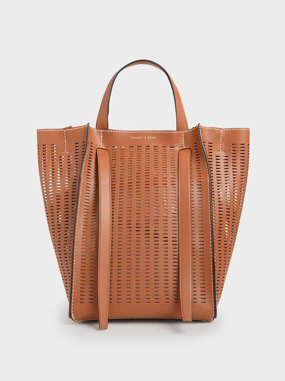 Large Laser-Cut Tote Bag, Cognac, hi-res