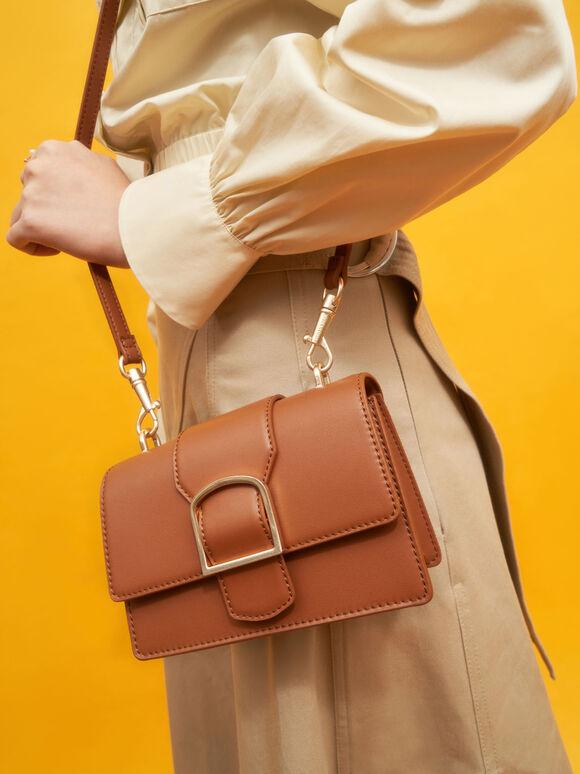 Metallic Buckle Crossbody Bag, Cognac, hi-res