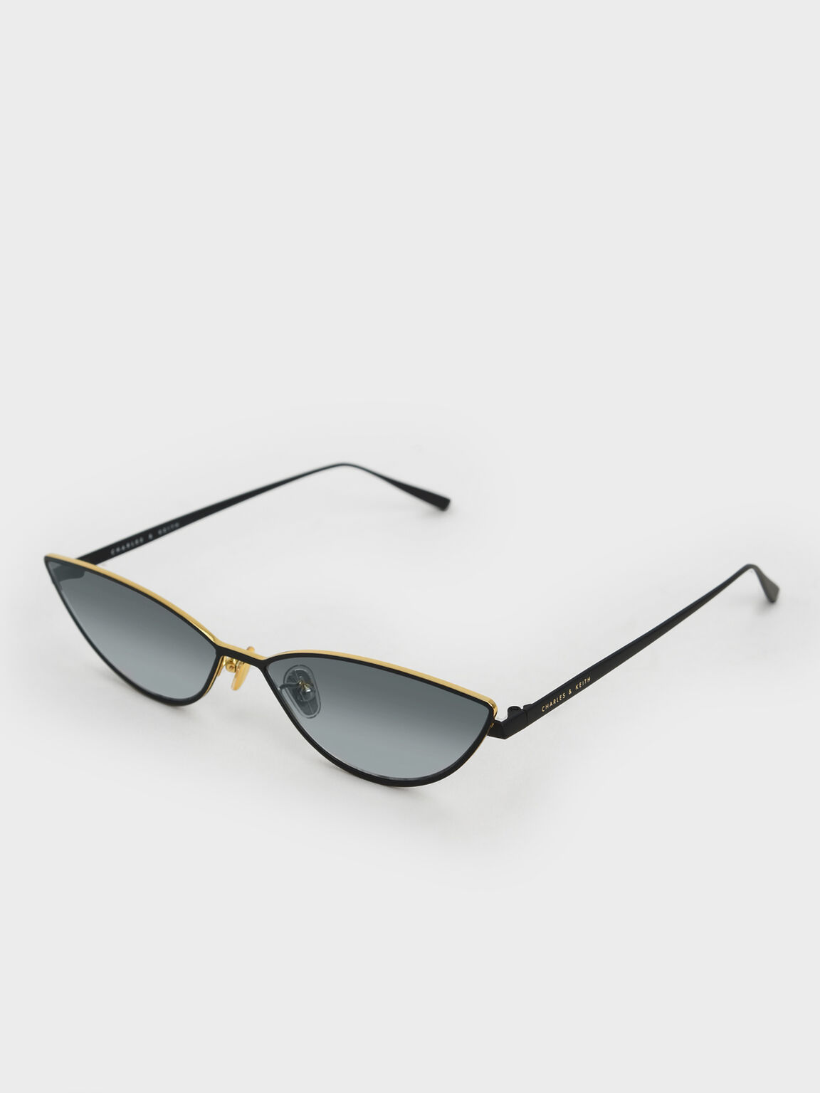 Tinted Cat-Eye Sunglasses, Black, hi-res