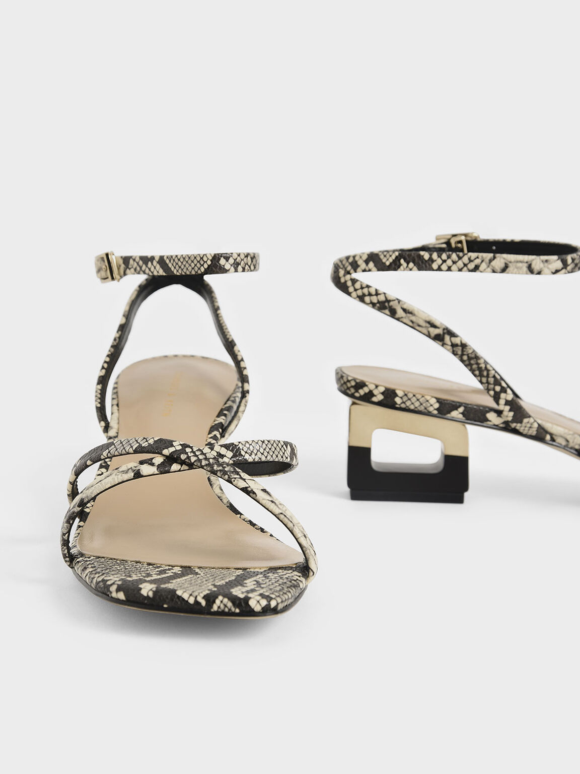 Snake Print Sculptural Chrome Heel Sandals, Multi, hi-res