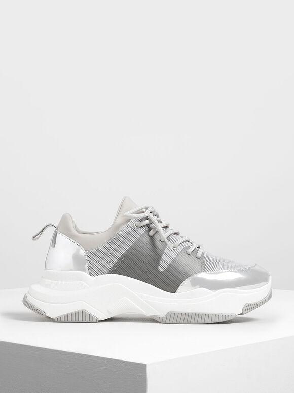 Chunky Mesh Sneakers, Silver, hi-res