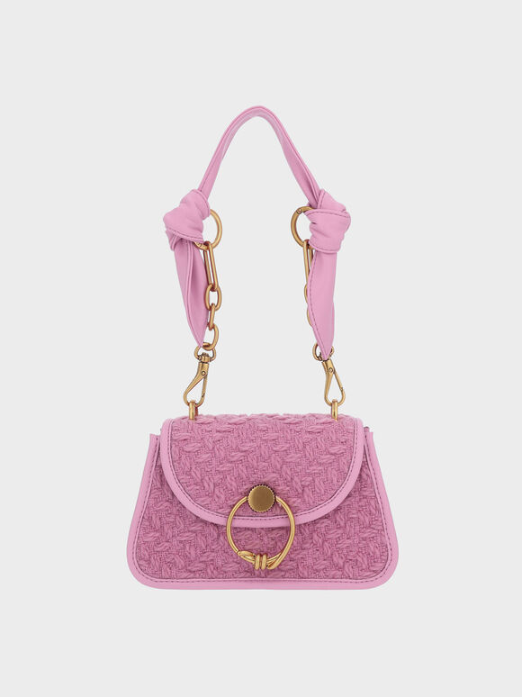 Tweed Ring Push-Lock Knotted Trapeze Bag, Pink, hi-res