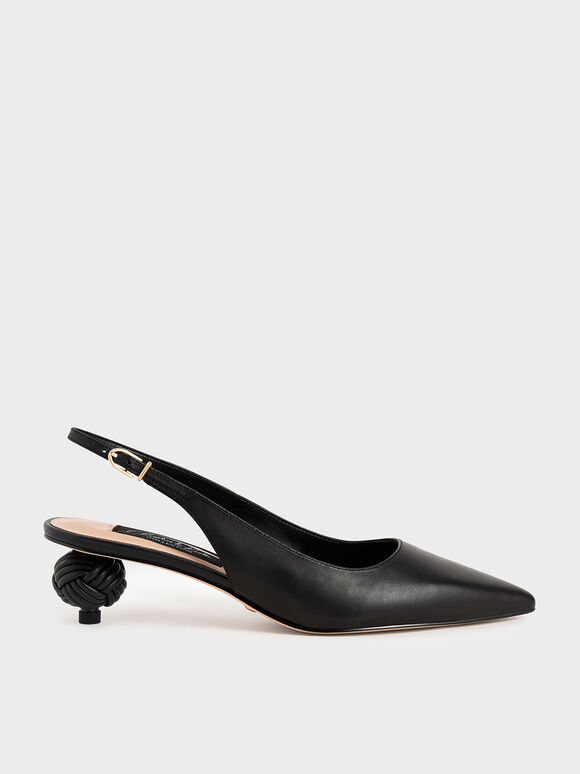 Leather Sculptural Heel Slingback Pumps, Black, hi-res