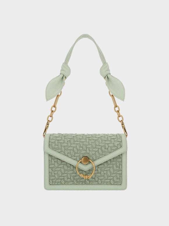 Ring Push-Lock Tweed Envelope Shoulder Bag, Mint Green, hi-res