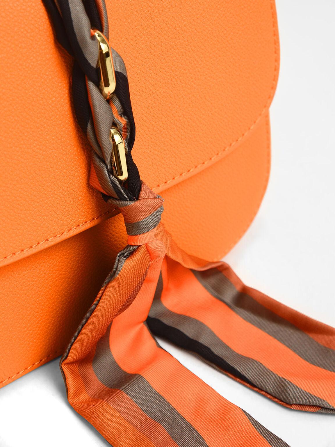 Braided Front Flap Bag, Orange, hi-res