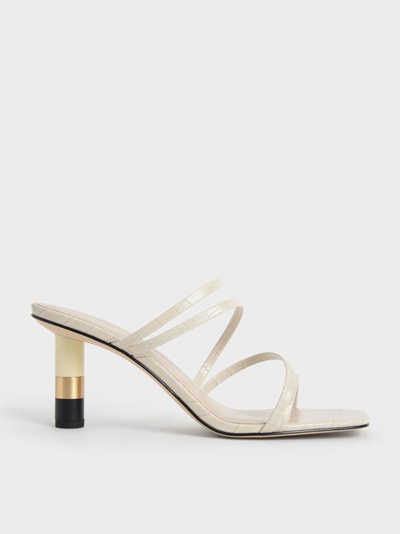 Croc-Effect Cylindrical Heel Mules, Animal Print White, hi-res