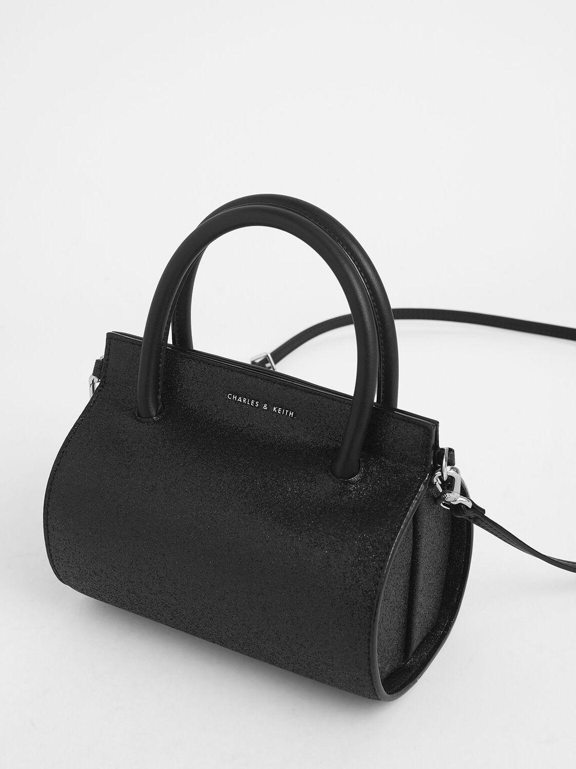 Glitter Structured Cylinder Bag, Black Textured, hi-res