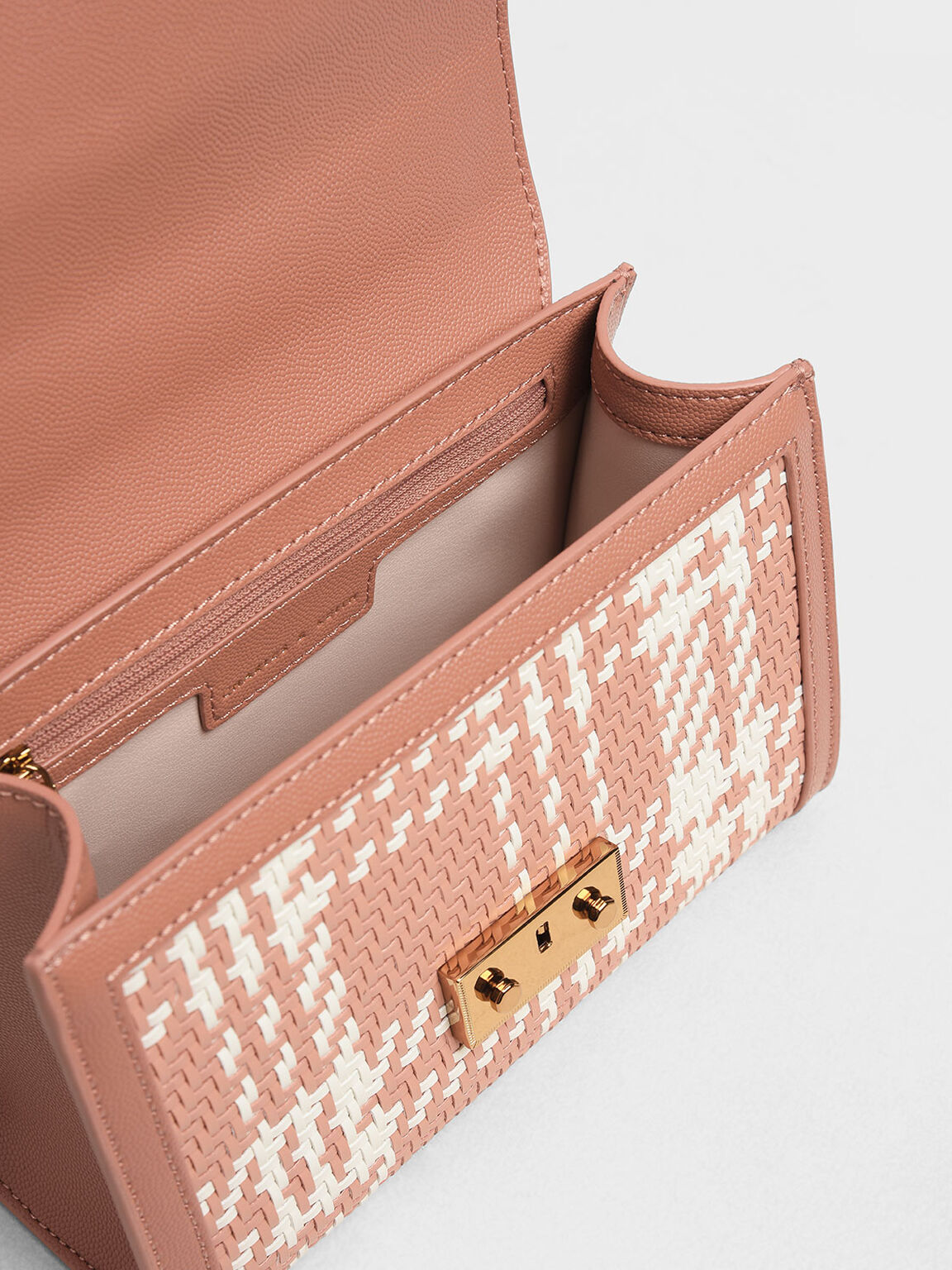 Woven Detail Clutch, Clay, hi-res