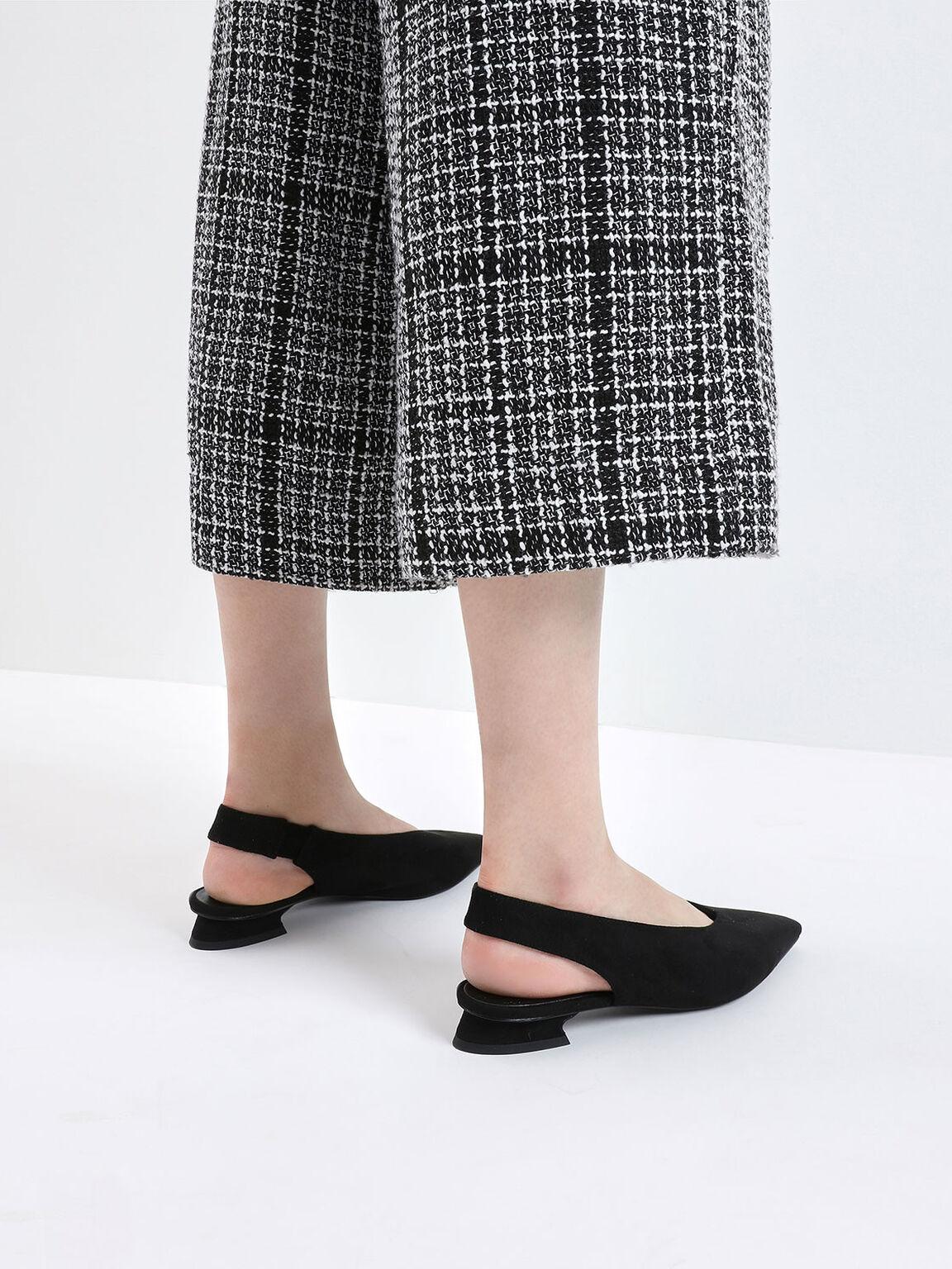 Textured Mini Square Toe Slingback Flats, Black, hi-res