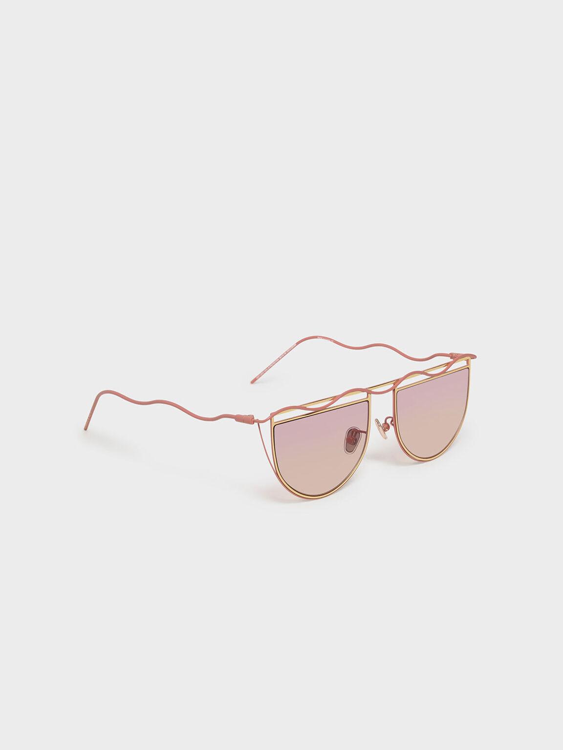 Drop Temple Semi-Circle Sunglasses, Pink, hi-res
