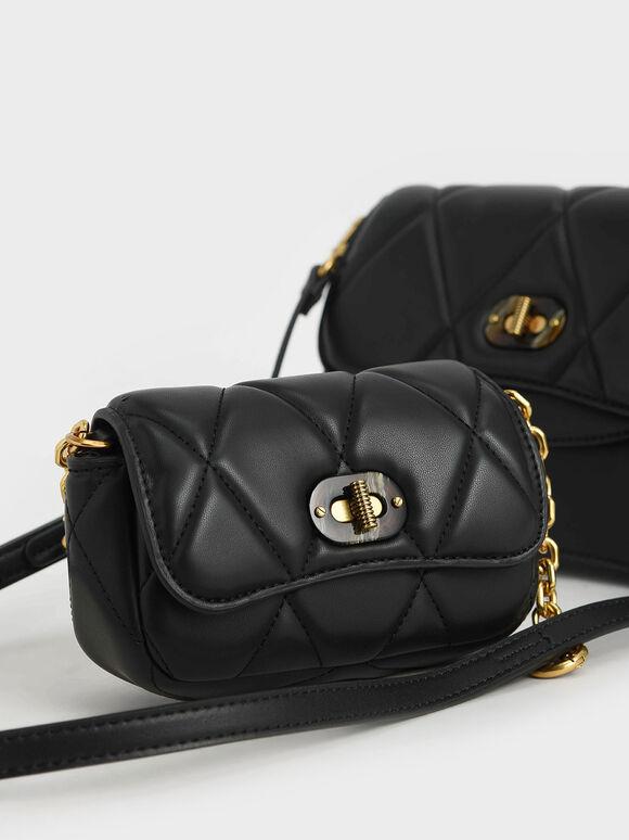 Padded Double Pocket Shoulder Bag, Black, hi-res