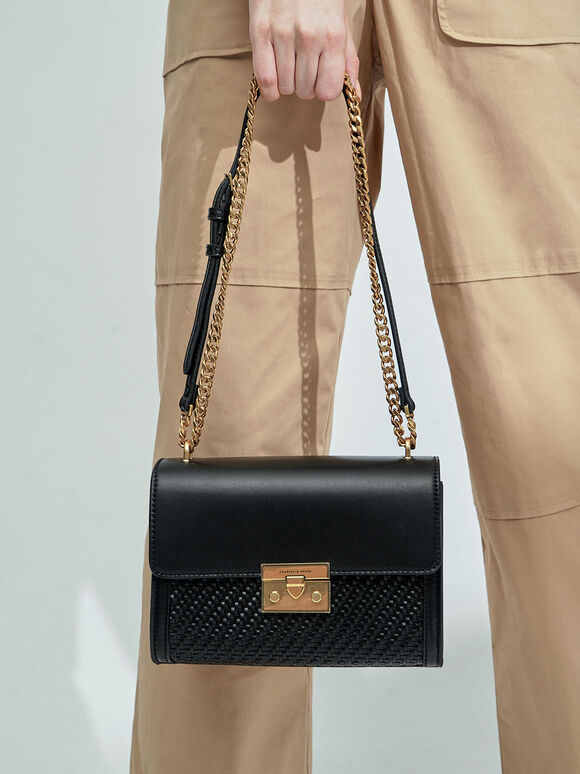 Woven Boxy Chain Strap Bag, Black, hi-res