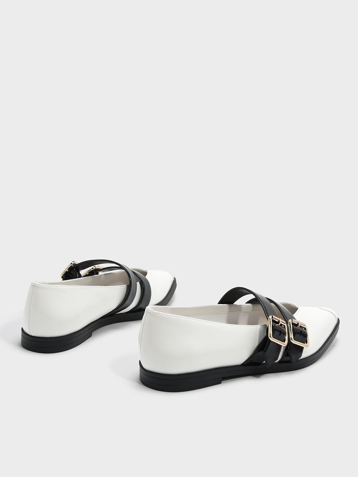 Double Strap Mary Jane Flats, White, hi-res