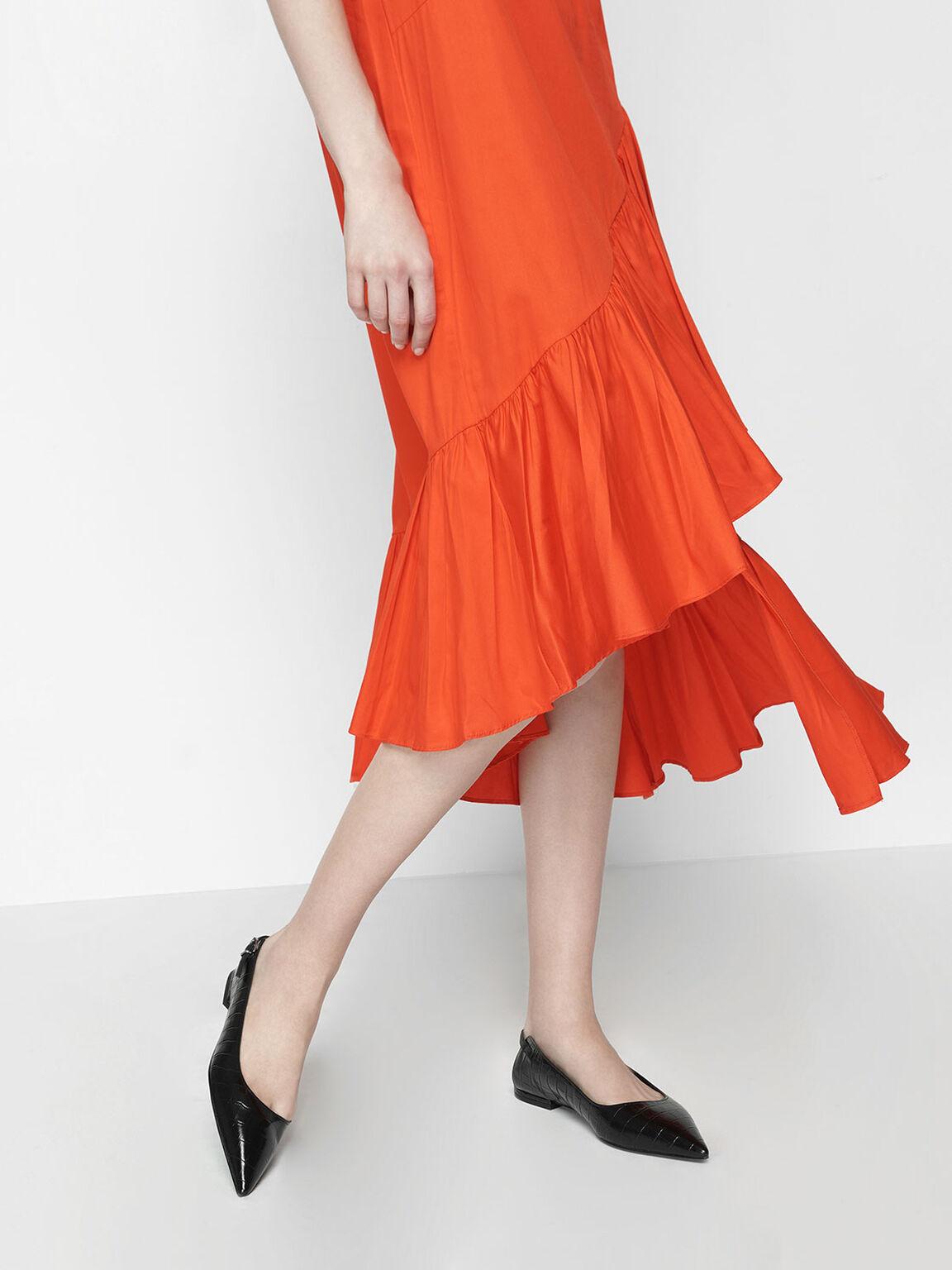 Croc-Effect Leather Ballerina Flats, Black, hi-res