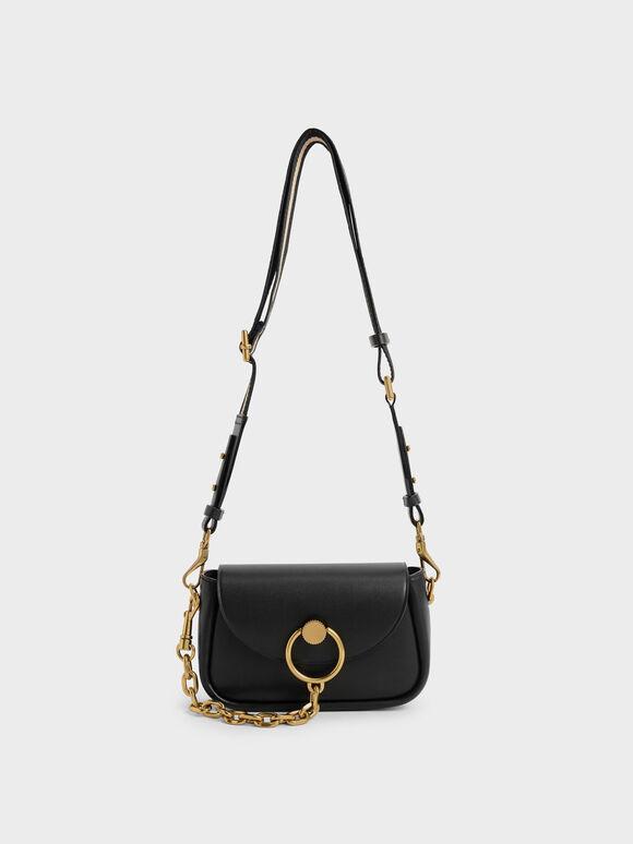 Chunky Chain-Link Crossbody Bag, Black, hi-res